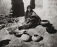 Hopi woman making pottery, possibly for sale, at Moki Pueblo, photograph probably by William Henry Jackson, c. 1875, or Adam Clark Vroman, c. 1900, courtesy of the Colorado Historical Society, William Henry Jackson Collection, in the Anasazi Heritage Center, an archaeological museum of Native American pueblo and hunter-gatherer cultures, Dolores, Colorado, USA. Hopi pottery declined with the arrival of metal cookware in the 19th century, but was reborn c. 1890 when the potter Nampeyo or Harmless Snake adopted ancestral styles from nearby archaeological sites. This photo might show Nampeyo as a teenager. Picture by Manuel Cohen