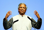 Bangladesh economist and founder of the Grameen Foundation Muhammad Yunus speaks in Tokyo, Japan.