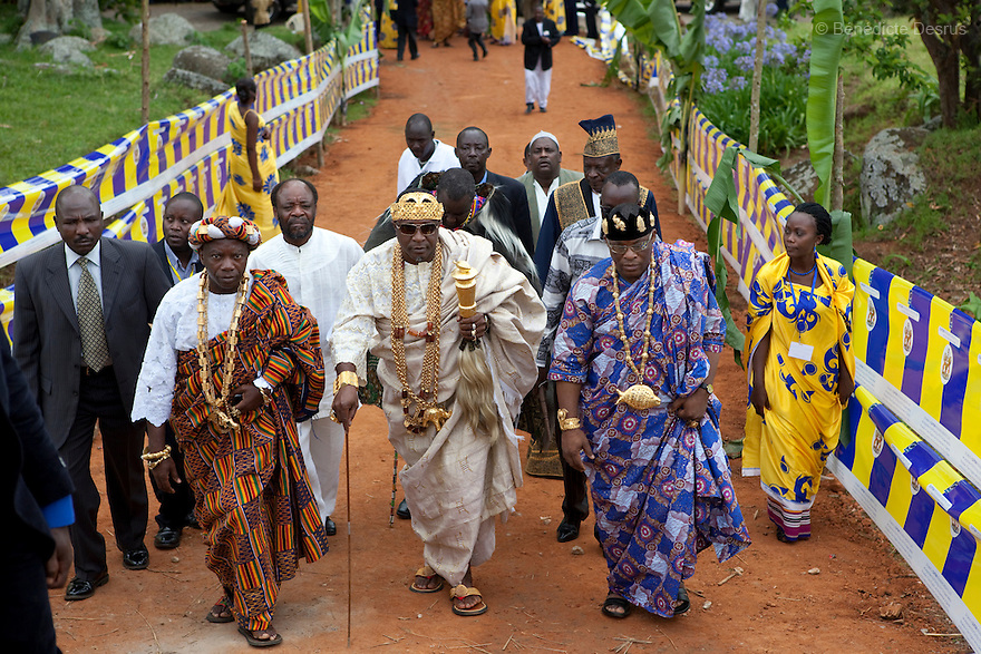 April 17, 2010 - Karuzika Royal Palace, Fort Portal, Uganda - King Chevy-Zeh Jean Gervais King of Korou Kingdom in the Ivory Coast arriving at the 18th birthday and coronation celebrations of Uganda's King of the Tooro Kingdom, King Oyo Nyimba Kabamba Iguru Rukidi IV, in Karuzika Royal Palace at Fort Portal. King Oyo is one of the world's youngest ruling monarchs. He ascended to throne at age three after his father, King Olimi Kaboyo, died of a heart attack in 1995. He rules over more than 2 million people in the Tooro kingdom, one of four kingdoms allowed by the government to exist in Uganda. Today he assumed the full duties of King of the Tooros as he reachs adulthood. Photo credit: Benedicte Desrus /Sipa Press