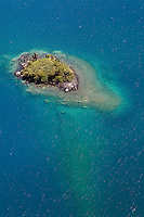 Aerial view of a small island in a lake, Alaska, USA