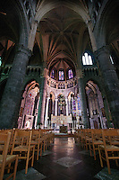 The interior of Notre-Dame Collegiate Church in Dinant, Belgium.