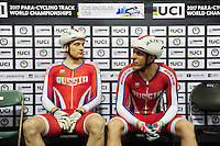 Picture by Simon Wilkinson/SWpix.com - 05/03/2017 - Cycling 2017 UCI Para-Cycling Track World Championships, Velosports Centre, Los Angeles USA - Russain Federation Leonid TIUTIN and Artur SPIRIN