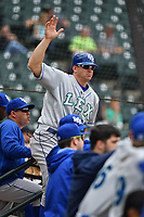 Manager Scott Thorman (35) of the Lexington Legends directs his fielders in a game against the Columbia Fireflies on Sunday, April 23, 2017, at Spirit Communications Park in Columbia, South Carolina. Lexington won, 4-2. (Tom Priddy/Four Seam Images)