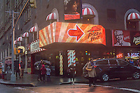 Advertising for Pizza Hut in a storefront in New York containing an assortment of fast food and fast casual restaurants franchised by Reise Restaurants on Sunday, December 18, 2016. (© Richard B. Levine)