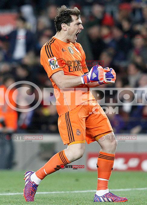 Real Madrid's Iker Casillas celebrates goal during La Liga match.March 22,2015. (ALTERPHOTOS/Acero) /NORTEphoto.com
