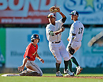 8 July 2012: Vermont Lake Monsters infielder Christopher Bostick gets the out at second during game action against the State College Spikes at Centennial Field in Burlington, Vermont. The Lake Monsters rallied from a 2-0 late inning deficit, to defeat the Spikes 8-2 in NY Penn League action. Mandatory Credit: Ed Wolfstein Photo