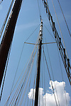 The mast and rope rigging of the Red Witch ship at the Maritime Festiville in Port Washington Wisconsin