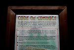 The Scotia &quot;Code of Conduct&quot; is posted around the company town of Scotia, CA. The town of Scotia in Northern California is a company town owned by the Pacific Lumber Company (PALCO), but that will change as the company will begin to sell the town. (Photo by Max Whittaker for The New York Times)<br />
