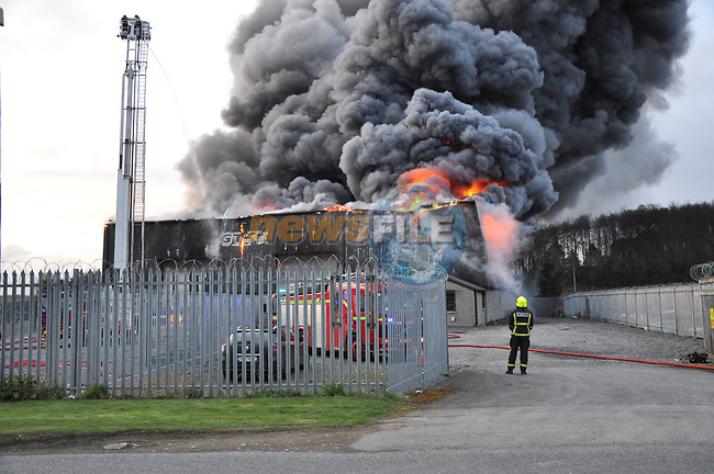 Louth Fire &amp; Rescue Service seen in attendence earlier at a Major Fire at vehicle compound in Haggardstown, Dundalk involving over 100 vehicles. Fire Crews from across Louth in attendance and still on scene.<br /> <br /> Picture: Pat O'Keeffe | Newsfile