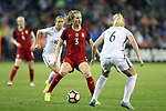 WASHINGTON, DC - MARCH 07: Samantha Mewis (USA) (3) is defended by Amandine Henry (FRA) (6). The United States Women's National Team hosted the France Women's National Team as part of the SheBelieves Cup on March 7, 2017, at RFK Stadium in Washington, DC. France won the game 3-0.