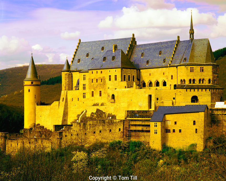 Castle at Vianden, Ardennes Mountains, Luxembourg, home of Victor Hugo, Ninth Century fortress along Our R., afternoon, April