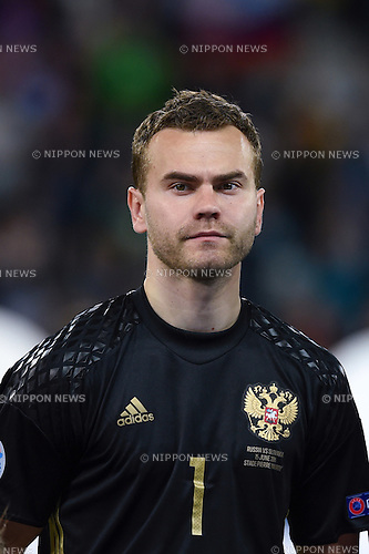 Igor Akinfeev (Russia) ; <br /> June 15, 2016 - Football : Uefa Euro France 2016, Group B, Russia 1-2 Slovakia at Stade Pierre Mauroy, Lille Metropole, France. (Photo by aicfoto/AFLO)