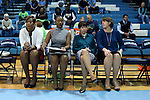 22 January 2017: Notre Dame head coach Muffet McGraw (second from right) with assistants (from left) Carol Owens, Niele Ivey, and Beth Cunningham. The University of North Carolina Tar Heels hosted the University of Notre Dame Fighting Irish at Carmichael Arena in Chapel Hill, North Carolina in a 2016-17 NCAA Division I Women's Basketball game. Notre Dame won the game 77-55