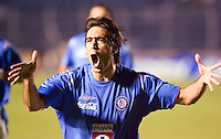 Cruz Azul forward Cesar Delgado celebrates his goal scored against Laguna Santos during their soccer match at the Blue Stadium in Mexico City, March 15, 2006. Cruz Azul won 4-1 to Laguna Santos. © Photo by Javier Rodriguez/