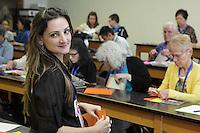 Isa Klein teaching a class her modular origami design: Flower Auri