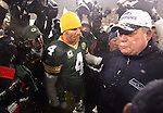 (2008)- NFC Divisional Playoffs- Green Bay Packers' Brett Favre and Seattle Seahawks head coach Mike Holgren meet after the Packers beat the Seahawks 42-20..The Green Bay Packers hosted the Seattle Seahawk in the NFC Divisional Playoffs Saturday January 12, 2008. Steve Apps-State Journal.