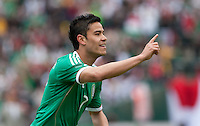 Pablo Barrera celebrates his assist for goal. Mexico defeated Paraguay 3-1 at the Oakland Coliseum in Oakland, California on March 26th, 2011.