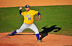 19 April 2009: University at Albany Great Danes' right handed pitcher Alexander Beaulieu, a Senior from Levis, Quebec, on the mound against the University of Vermont Catamounts at Historic Centennial Field in Burlington, Vermont. The Great Danes defeated the Catamounts 9-4 in the second game of a double-header. Sadly, the Catamounts are playing their last season of baseball, as the program has been marked for elimination due to budgetary constraints on the University. Mandatory Photo Credit: Ed Wolfstein Photo