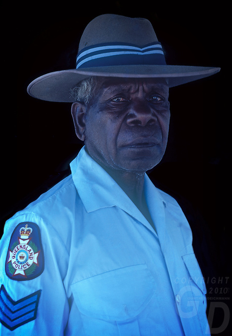 Aboriginal Police man from the outback of North Queensland, QLD Australia
