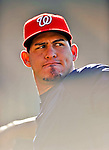 22 July 2011: Washington Nationals catcher Wilson Ramos warms up prior to facing the Los Angeles Dodgers at Dodger Stadium in Los Angeles, California. The Nationals defeated the Dodgers 7-2 in their first meeting of the 2011 season. Mandatory Credit: Ed Wolfstein Photo