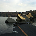 On May 11, 2011, earthquake of magnitude 9.0 and devastating tsunami hit the Tohoku area, killing more than 15,000 people and missing more than 5,000 people.<br /> Destroyed road and waterbreaks at Unosumai district in Kamaishi, Iwate.