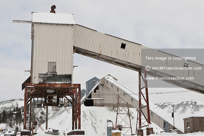 Abandoned asbestos mining site is pictured in Thetford Mines (Quebec, Canada) Sunday February 13, 2011. Thetford Mines was founded in 1876 after the discovery of large asbestos deposits in the area, and the city became a hub for one of the world's largest asbestos-producing regions.