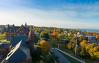 View of UVM Green and University Place from Ira Allen Chapel, Fall UVM Campus