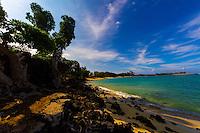 Mahai'ula Beach with turquoise water, a tree-lined white sand beach and blue sky, Kona, Big Island.