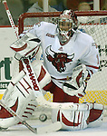 21 Oct 2006 Omaha NE University of Nebraska at Omaha goalie Jeremie Dupont stops a shot during the third period of the Maverick Stampede hockey tournament at the Qwest Center Omaha Saturday night.(photo by Chris Machian/Prairie Pixel Group)UNO lost in the second game of the Maverick Stampede.
