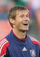 Brian McBride #20 of the Chicago Fire during an MLS match against D.C. United on April 17 2010, at RFK Stadium in Washington D.C. Fire won 2-0.