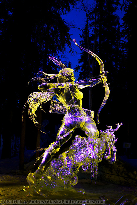 Graceful predator, by Junichi Nakamura and,Tajana Raukar. Single Block 2003 World Ice Art Championships, Fairbanks Alaska.