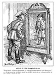 """Adolf in the Looking-Glass. """"Bowler-hatted! And to think that this time two years ago I was being measured for the British crown!"""" [It was rumoured last week that his generals had asked Hitler to resign his post as Commander-in-Chief, but that he declined to entertain the idea.] (an angry Hitler looks in the mirror to see his military hat replaced with a bowler hat)"""