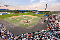 102nd Annual Midnight Sun baseball game. Fairbanks Goldpanners, semi professional baseball team plays celebratory game on June 21st, the summer solstice, longest day of the year in Fairbanks, Alaska.