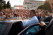 "Ternopol, Ukraine.May 28, 2005 ..People greet Ukraine President Victor Yushchenko as he makes his first visit back to his University (Ternopol Economic University) since the ""Orange Revolution"" swept him in to office."