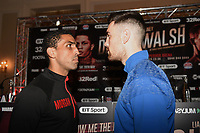 Aaron Morgan (L) and Marco McCullough go head to head during a Press Conference at the Landmark Hotel on 18th May 2017