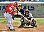 29 May 2011: Washington Nationals outfielder Rick Ankiel connects against the San Diego Padres at Nationals Park in Washington, District of Columbia. The Padres defeated the Nationals 5-4 to take the rubber match of their 3-game series. Mandatory Credit: Ed Wolfstein Photo