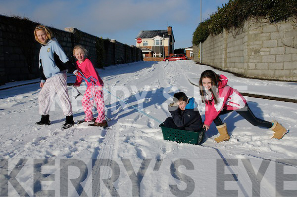 Listowel children have no problem having fun in the snow on Monday.