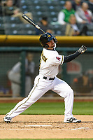 Shane Robinson (9) of the Salt Lake Bees follows through on his swing against the Sacramento River Cats during the Pacific Coast League game at Smith's Ballpark on August 11, 2017 in Salt Lake City, Utah.The River Cats defeated the Bees 8-7. (Stephen Smith/Four Seam Images)