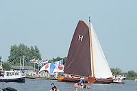 ZEILEN: GROU: Pikmar, Tynje, Wide Ie, 18-07-2014, Openingswedstrijd SKS skûtsjesilen, ©foto Martin de Jong