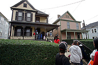 People visit the birth home of Dr. Martin Luther King Jr. on Auburn Avenue.<br />