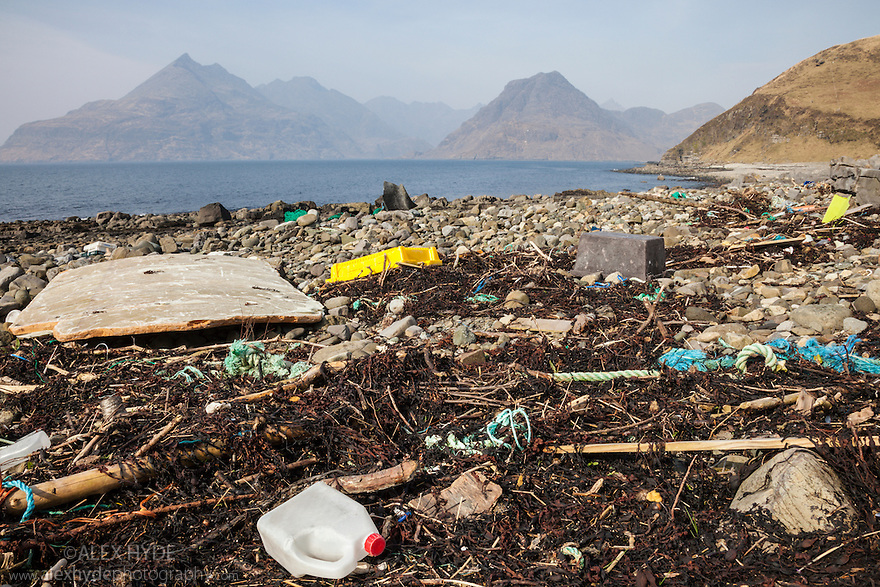 Rubbish washed up on a beach, Isle of Skye, Inner Hebrides, Scotland, UK. March.