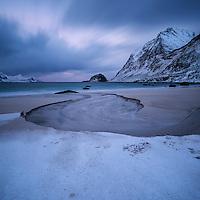 Winter at Haukland beach, Vestvågøy, Lofoten Islands, Norway