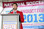 10 October 2013: 2013 inductee Joe-Max Moore. The 2013 National Soccer Hall of Fame Induction Ceremony was held on the West Plaza outside Sporting Park in Kansas City, Kansas.