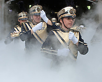 The Pitt band takes the field. The Notre Dame Fighting Irish defeated the Pitt Panthers 15-12 at Heinz field in Pittsburgh, Pennsylvania on September 24, 2011.