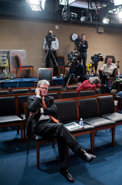 UNITED STATES - FEBRUARY 16:  Sen. Tom Coburn, R-Okla., waits for the start of a news conference with Sen. Richard Burr, R-N.C., to introduce the Seniors' Choice Act, which aims to strengthen and sustain Medicare. (Photo By Tom Williams/CQ Roll Call)