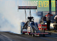 May 18, 2012; Topeka, KS, USA: NHRA top fuel dragster driver Steve Torrence during qualifying for the Summer Nationals at Heartland Park Topeka. Mandatory Credit: Mark J. Rebilas-