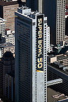 aerial photograph of the Hilton San Francisco Union Square during Superbowl 50, San Francisco, California
