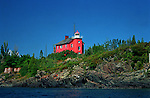 Marquette lighthouse from water landscape lighthouses in the Upper Peninsula of Michigan