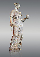 Second century AD Roman statue of Urania holding, the muse of atronomy holding  a globe, the statue was restored from two separte staues of the period, inv 293, Vatican Museum Rome, Italy,  grey background