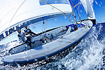 "Malcolm Page and Mathew Belcher training in Sydney Harbour by a Westerly breeze  on a sunny day for the world championship before heading to Europe...THE 470 DINGHY The 470 is an Olympic class dinghy recognised by ISAF, sailed by both male and female teams. It was designed in 1963 by the frenchman André Cornu, as a modern fiberglass planing dinghy. In 1969 the class was given international status and it has been an olympic class since featuring at the Montreal Olympics in 1976. In 1988 the first olympic womens sailing event was sailed in the 470..the 470 is sailed in more than 61 nations around the world..The boat is equipped with spinnaker and trapeze, which demands real teamwork. To be competitive, everything should be mastered to perfection and the 470 is often quoted as the hardest Olympic design to get to grips with. Tactically the boat is demanding as speed differences between competitors are small and fleets are usually big..To sail the 470, good physical health is enough; strength is not crucial. The competitive crew weight is 110 - 145 kg, making it ideal for both women and men..PARTICULARS.Length: 4.7m, 15'5"".Length of waterline: 4.4m, 14'6"".Mass: 120kg, 264lbs..Mast: 6.76m, 22'3"".Total Sail Area: 12.7m^2, 137ft^2.Jib: 3.58m^2, 39ft^2.Main: 9.12m^2, 98ft^2.Spinnaker: 13m^2, 140ft^2.Crew .Two (single trapeze).Olympic Class..Malcolm Page (born 22 March 1972) is an Australian sailor. He was educated at St. Andrew's Cathedral School in Sydney. He and team mate Nathan Wilmot have won five world titles in the 470 class. They also won the Olympic test event in Qingdao in 2007 and were considered favourites to win the 470 event at the 2008 Summer Olympics, which they did...Mathew Belcher ..25.Nationality/Country.Australian/New Zealand.Being a natural sportsman, it no accident that Queenslander Mat Belcher is where he is today - campaigning for the 2008 Olympic Games. However Mat's first foray into sailing gave no indication of the talent to come- at seven, his par"